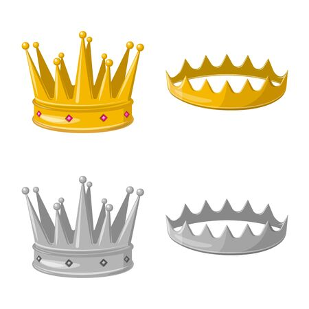 Vector design of medieval and nobility sign. Collection of medieval and monarchy vector icon for stock. Stock Illustratie