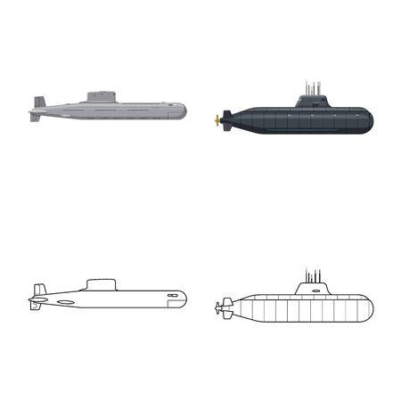 Vector design of war and ship symbol. Set of war and fleet stock symbol for web. Ilustracja