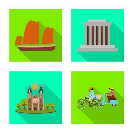 Vector design of vietnam and traditional symbol. Collection of vietnam and culture vector icon for stock. Ilustração