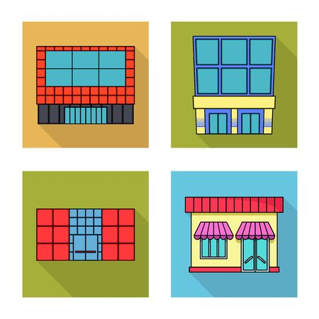 Isolated object of supermarket and building sign. Collection of supermarket and local vector icon for stock. Ilustração