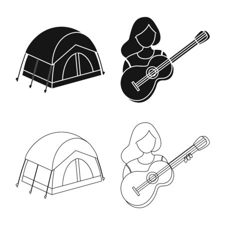 Isolated object of trekking and wildlife icon. Set of trekking and leisure stock symbol for web.