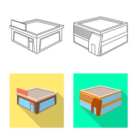 Isolated object of and urban icon. Collection of and house stock vector illustration. Illustration