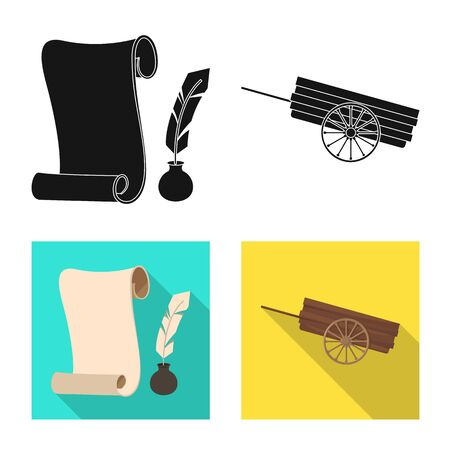 Vector illustration of old and culture sign. Set of old and renaissance stock symbol for web.