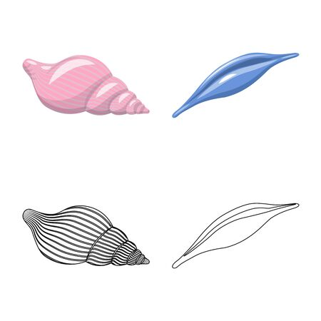 Isolated object of animal and decoration . Collection of animal and ocean stock symbol for web. Ilustração