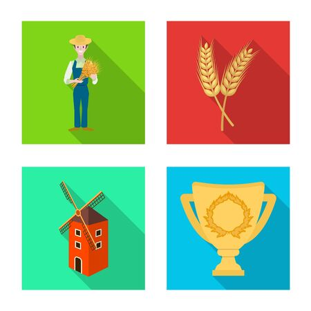 Isolated object of farm and arable  . Collection of farm and harvest vector icon for stock.