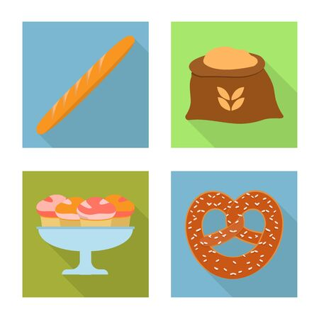 Isolated object of bakery and natural symbol. Set of bakery and business vector icon for stock.