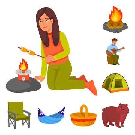 Isolated object of picnic and nature symbol. Collection of picnic and travel stock vector illustration.
