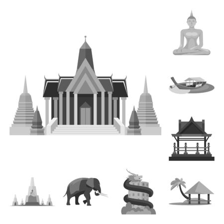 Vector illustration of traditional and tourism . Set of traditional and exotic stock vector illustration. Illustration