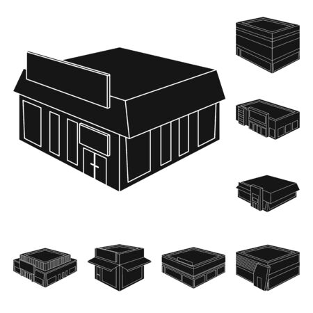 Vector design of and house . Collection of and building vector icon for stock. Illustration