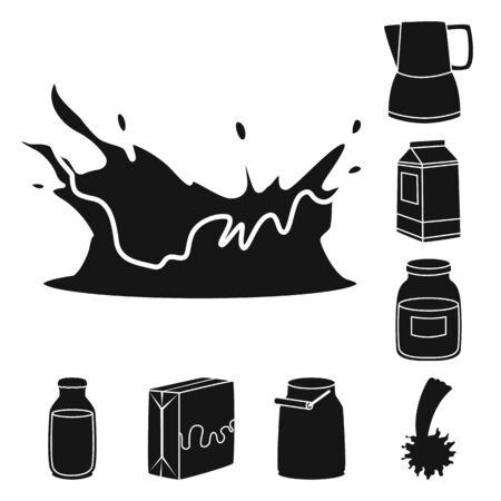 Vector design of ingredient and organic . Collection of ingredient and dairy stock symbol for web. Ilustração