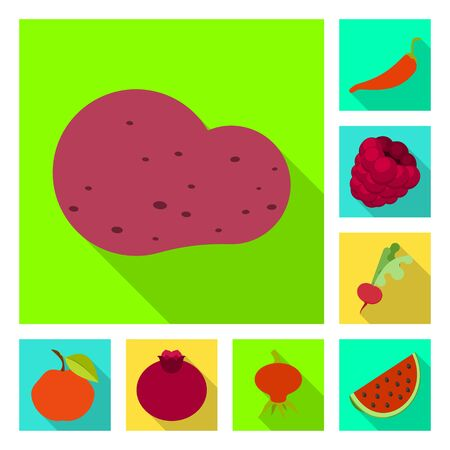 Vector illustration of fresh and red symbol. Set of fresh and organic stock vector illustration. Ilustração
