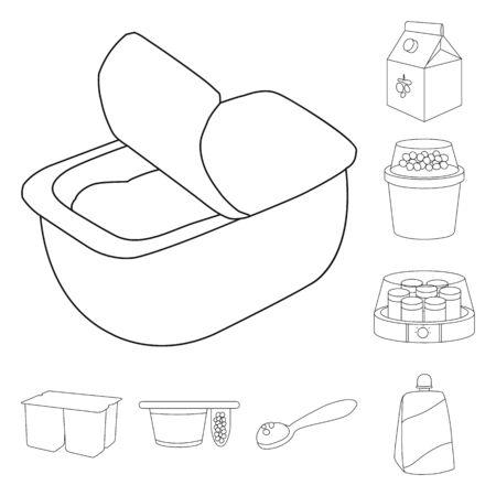 Vector illustration of calcium and food sign. Collection of calcium and product stock vector illustration. Ilustração