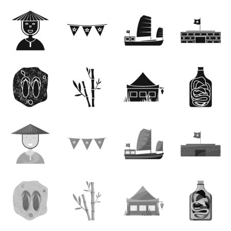 Isolated object of vietnam and traditional symbol. Set of vietnam and culture stock vector illustration.