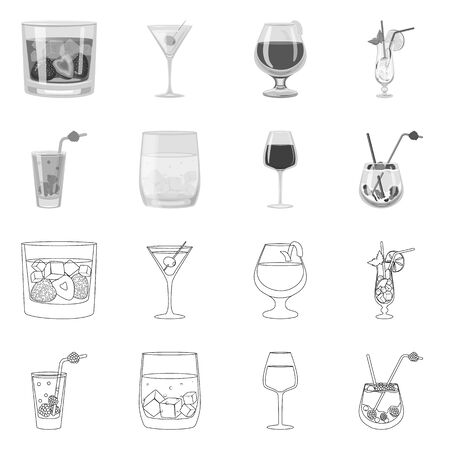 Vector design of liquor and restaurant symbol. Set of liquor and ingredient stock symbol for web.