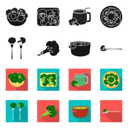 Vector illustration of eating and diet sign. Set of eating and vegetarian stock symbol for web.