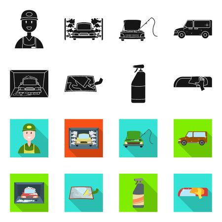 Vector illustration of car wash and care icon. Collection of car wash and automotive vector icon for stock.