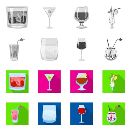 Vector illustration of liquor and restaurant symbol. Collection of liquor and ingredient stock vector illustration. Stock Illustratie