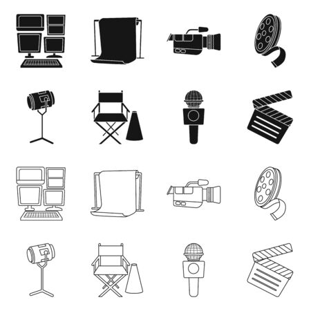 Vector illustration of news and studio symbol. Collection of news and program vector icon for stock.