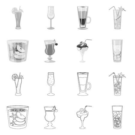 Isolated object of liquor and restaurant  . Collection of liquor and ingredient stock vector illustration.
