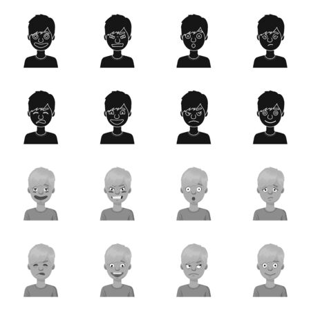 Isolated object of face and boy symbol. Set of face and young stock vector illustration. Illustration
