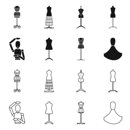 Isolated object of mannequin and fashion icon. Collection of mannequin and atelier vector icon for stock.