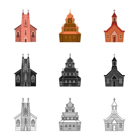 Isolated object of cult and temple sign. Collection of cult and parish stock vector illustration. 일러스트