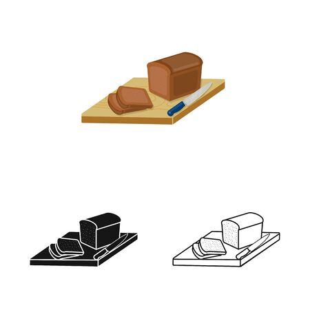 Vector design of bread and board icon. Set of bread and tree stock symbol for web.