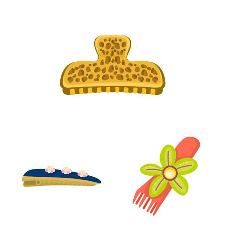 Vector design of barrette and hair symbol. Collection of barrette and accessories stock symbol for web.