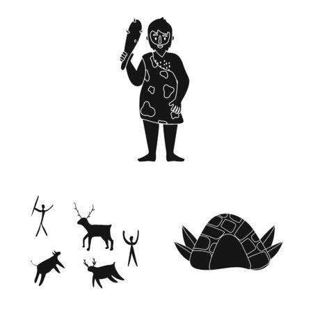 Vector design of survival and primeval icon. Collection of survival and stone vector icon for stock. Vectores
