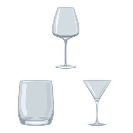 Isolated object of dishes and container icon. Collection of dishes and glassware stock symbol for web.