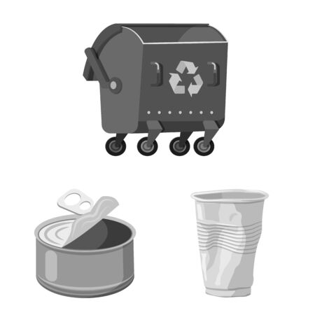 Vector design of dump and sort logo. Collection of dump and junk vector icon for stock.