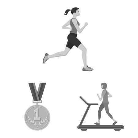 Vector illustration of success and marathon sign. Set of success and winner stock vector illustration.  イラスト・ベクター素材