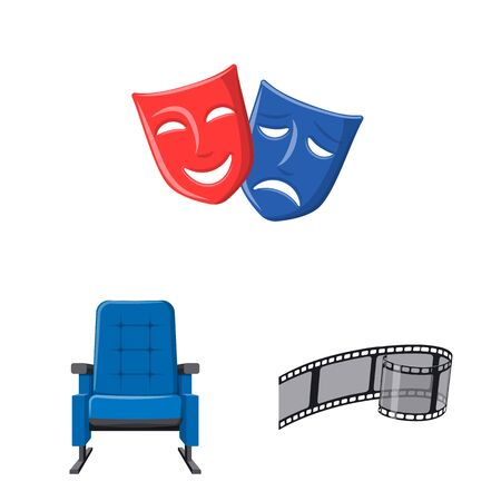 Vector design of cinema and theater icon. Collection of cinema and entertainment stock symbol for web.