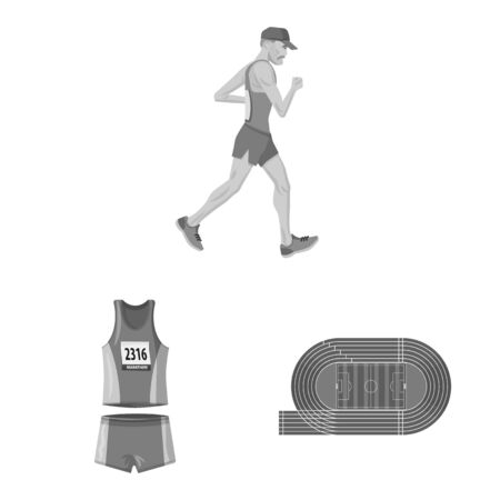 Isolated object of success and marathon logo. Set of success and winner stock symbol for web.  イラスト・ベクター素材