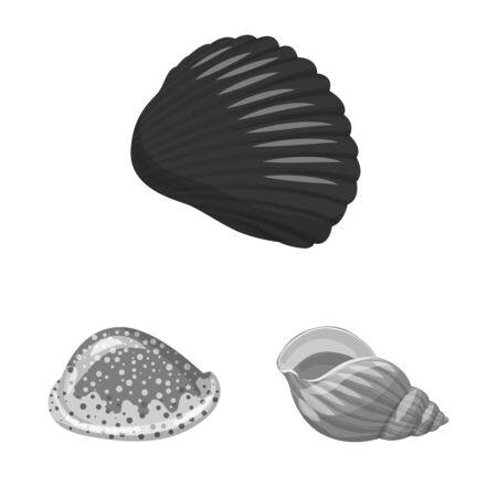 Isolated object of aquarium and aquatic sign. Set of aquarium and decoration stock vector illustration.