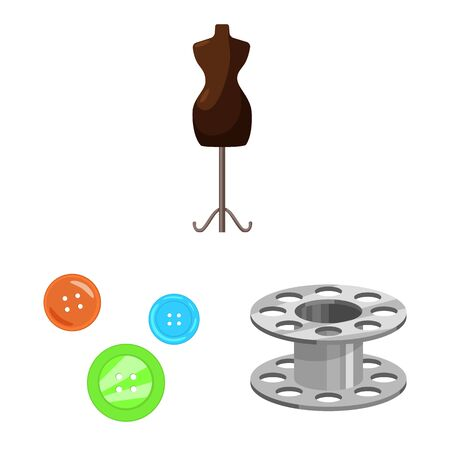 Isolated object of atelier and sewing symbol. Set of atelier and tailoring stock vector illustration.