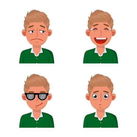 Vector design of face and boy logo. Collection of face and young vector icon for stock.