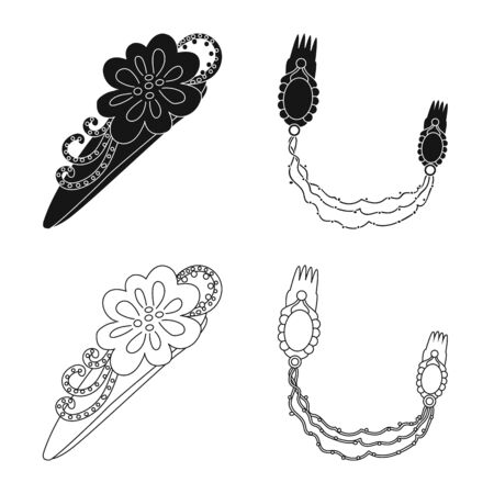 Vector illustration of beauty and fashion symbol. Collection of beauty and female stock vector illustration.