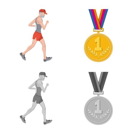 Vector illustration of sport and winner sign. Collection of sport and fitness vector icon for stock. 스톡 콘텐츠 - 131031085