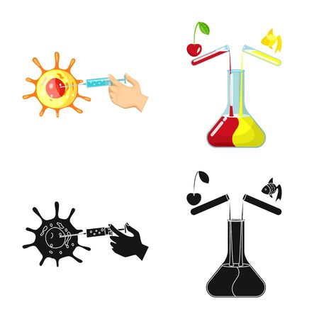 Vector illustration of test and synthetic symbol. Collection of test and laboratory vector icon for stock.