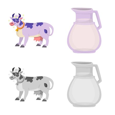 Vector design of creamy and product symbol. Set of creamy and farm stock vector illustration.