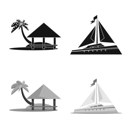 Vector design of journey and exotic sign. Collection of journey and national stock symbol for web. 写真素材 - 131096572