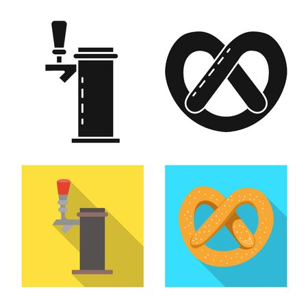 Vector design of brewery and brewing symbol. Set of brewery and ingredient stock vector illustration.  イラスト・ベクター素材