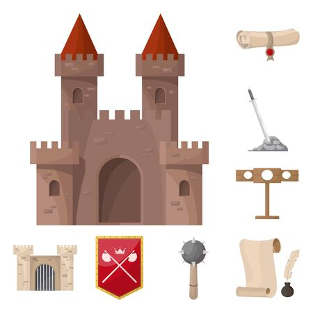 Isolated object of medieval and history sign. Set of medieval and tournament vector icon for stock. Illustration