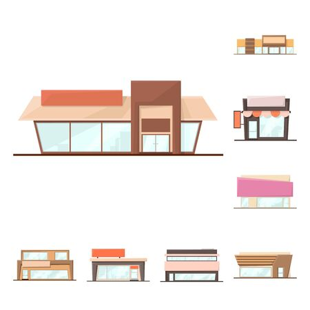 Vector illustration of building and supermarket logo. Collection of building and market stock vector illustration. Illustration