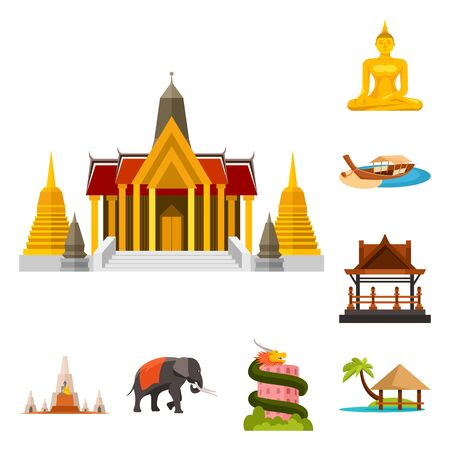 Isolated object of thailand and travel logo. Collection of thailand and culture stock vector illustration. Illustration