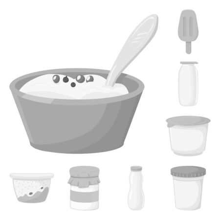 Vector design of yogurt and product icon. Collection of yogurt and lactose stock vector illustration.