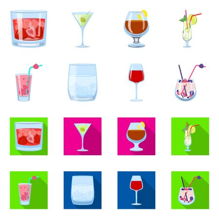 Vector design of liquor and restaurant symbol. Collection of liquor and ingredient stock symbol for web.