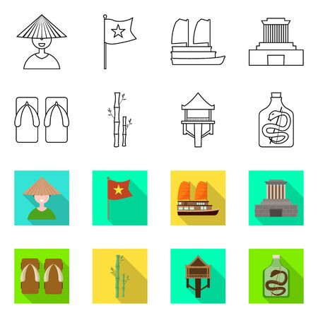 Isolated object of vietnam and traditional icon. Set of vietnam and landmark stock symbol for web. Ilustracja
