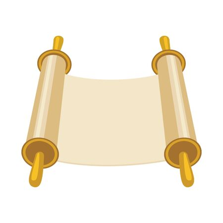 Vector illustration of scroll and parchment symbol. Graphic of scroll and bible stock symbol for web.
